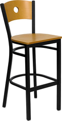Black Circle Back Metal Restaurant Bar Stool - Natural Wood Back & Seat