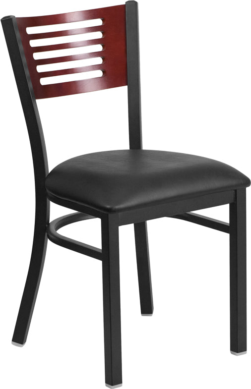 Black Decorative Slat Back Metal Restaurant Chair - Mahogany Wood Back, Black Vinyl Seat