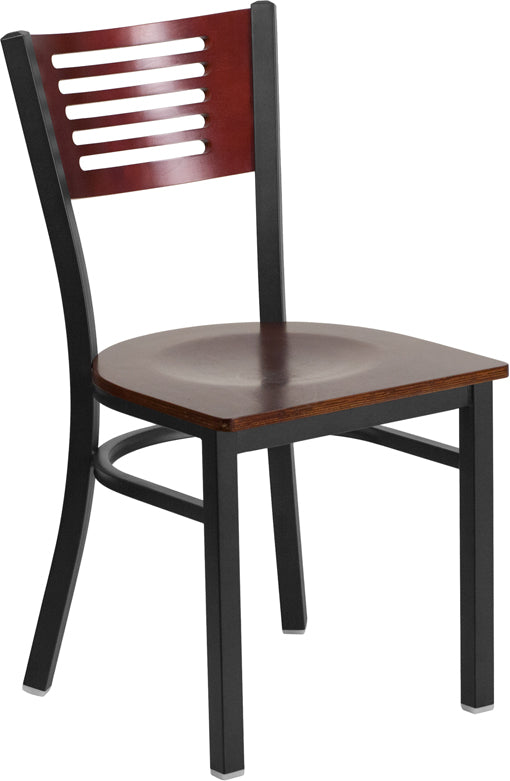Black Decorative Slat Back Metal Restaurant Chair - Mahogany Wood Back & Seat