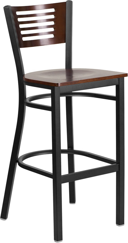 Black Decorative Slat Back Metal Restaurant Bar Stool - Walnut Wood Back & Seat
