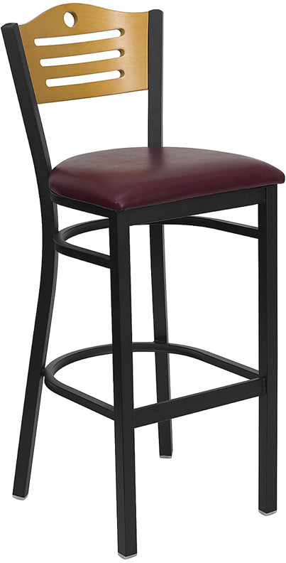 Black Slat Back Metal Restaurant Bar Stool - Natural Wood Back, Burgundy Vinyl Seat