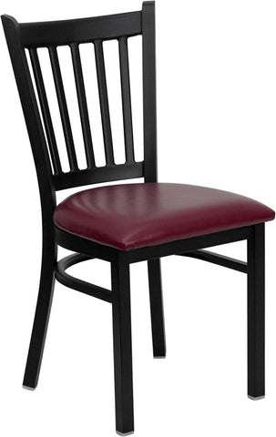 Black Vertical Back Metal Restaurant Chair - Vinyl Seat