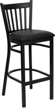 Black Vertical Back Metal Restaurant Bar Stool - Vinyl Seat