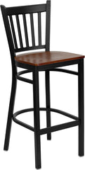 Black Vertical Back Metal Restaurant Bar Stool - Wood Seat