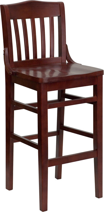 Mahogany Finished School House Back Wooden Restaurant Bar Stool