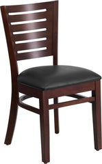 Slat Back Walnut Wooden Restaurant Chair - Vinyl Seat