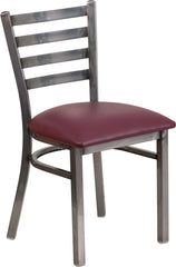Clear Coated Ladder Back Metal Restaurant Chair - Vinyl Seat