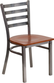 Clear Coated Ladder Back Metal Restaurant Chair - Wood Seat