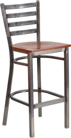 Clear Coated Ladder Back Metal Restaurant Bar Stool - Wood Seat