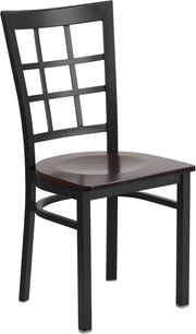 Black Window Back Metal Restaurant Chair - Walnut Wood Seat
