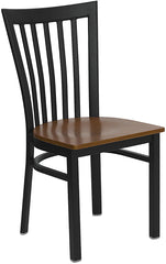 Black School House Back Metal Restaurant Chair - Cherry Wood Seat