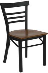 Black Ladder Back Metal Restaurant Chair - Wood Seat