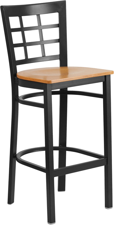 Black Window Back Metal Restaurant Bar Stool - Natural Wood Seat