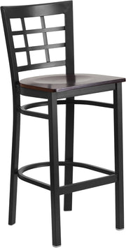 Black Window Back Metal Restaurant Bar Stool - Walnut Wood Seat