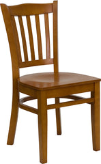 Cherry Finished Vertical Slat Back Wooden Restaurant Chair