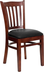 Mahogany Finished Vertical Slat Back Wooden Restaurant Chair - Vinyl Seat