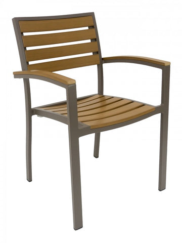 FS Aluminum Frame Armchair With Faux Teak Seat and Back