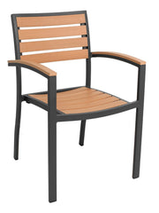 FS Aluminum Frame Armchair With Faux Teak Back - Black