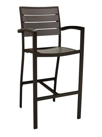 FS Aluminum Frame Barstool With Arm & Faux Teak Back