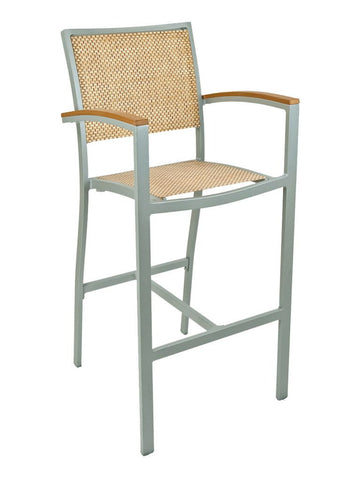 FS Aluminum Frame Barstool With Arm & Textile Back