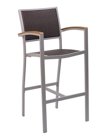 FS Aluminum Frame Barstool With Arm & PE Weave Back