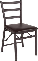 2 Pk. HERCULES Series Brown Folding Ladder Back Metal Chair with Brown Vinyl Seat