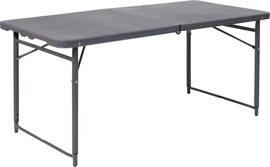 4-Foot Height Adjustable Bi-Fold Plastic Folding Table with Carrying Handle