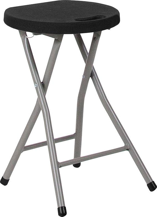 Foldable Stool with Black Plastic Seat and Titanium Gray Frame