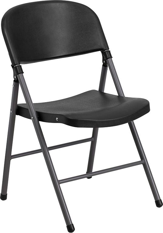 2 Pk. HERCULES Series 330 lb. Capacity Plastic Folding Chair with Charcoal Frame