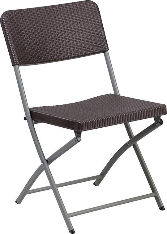 2 Pk. HERCULES Series Brown Rattan Plastic Folding Chair with Gray Frame