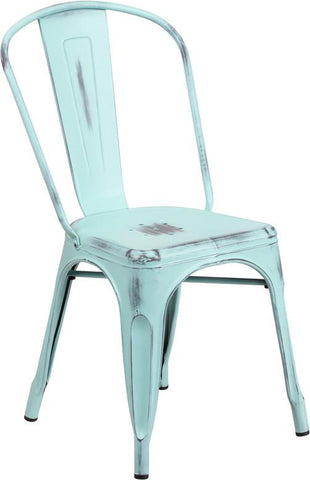 Tolix Style Distressed Metal Stackable Chair