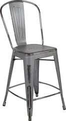 "Commercial Grade 24"" High Distressed Silver Gray Metal Indoor-Outdoor Counter Height Stool with Back"