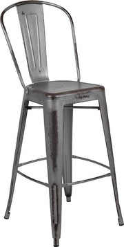 "Commercial Grade 30"" High Distressed Silver Gray Metal Indoor-Outdoor Barstool with Back"
