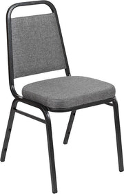 "HERCULES Series Trapezoidal Back Stacking Banquet Chair with 2.5"" Thick Seat in Gray Fabric - Silver Vein Frame"
