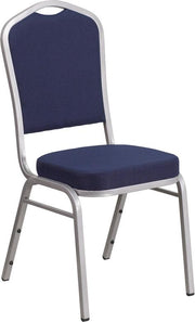 HERCULES Series Crown Back Stacking Banquet Chair - Silver Frame