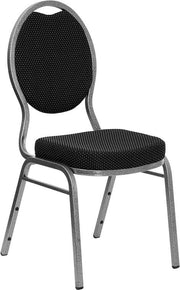 HERCULES Series Teardrop Back Stacking Banquet Chair - Silver Vein Frame