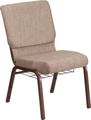 HERCULES Series 18.5''W Church Chair with Book Rack - Copper Vein Frame