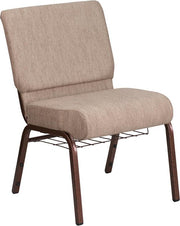 HERCULES Series 21''W Church Chair with Book Rack - Copper Vein Frame