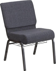 HERCULES Series 21''W Church Chair with Book Rack - Silver Vein Frame