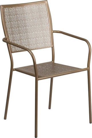 Indoor-Outdoor Steel Patio Arm Chair with Square Back