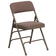 HERCULES Series Curved Triple Braced & Double Hinged Beige Fabric Metal Folding Chair