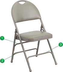 2 Pk. HERCULES Series Ultra-Premium Triple Braced Metal Folding Chair with Easy-Carry Handle