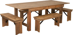 Antique Rustic Folding Farm Table and Four Bench Set 7' x 40""