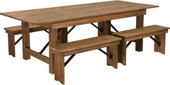 Antique Rustic Folding Farm Table and Four Bench Set 8' x 40""