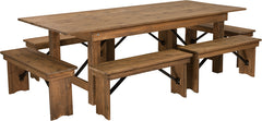Antique Rustic Folding Farm Table and Six Bench Set 8' x 40""