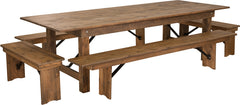 Antique Rustic Folding Farm Table and Four Bench Set 9' x 40""