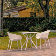 Sky Dining Set with 2 Arm Chairs White