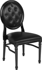 HERCULES Series 900 lb. Capacity King Louis Chair with Tufted Back, Black Vinyl Seat and Black Frame