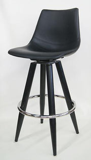Metal Bar Stool with Black Vinyl Seat