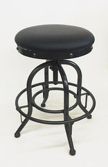 Adjustable Swivel Bar Stool with Black Vinyl Seat